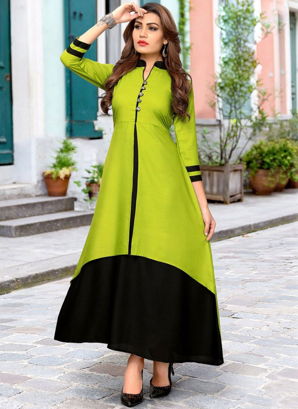 Green Fancy Rayon Party Wear Kurti