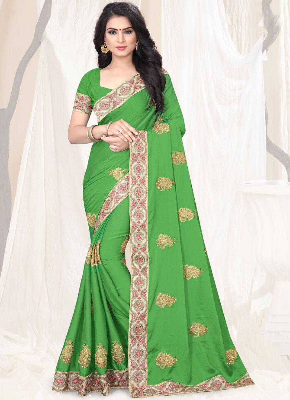 Green Faux Chiffon Designer Saree