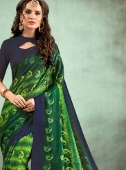 Green Faux Chiffon Digital Print Casual Saree