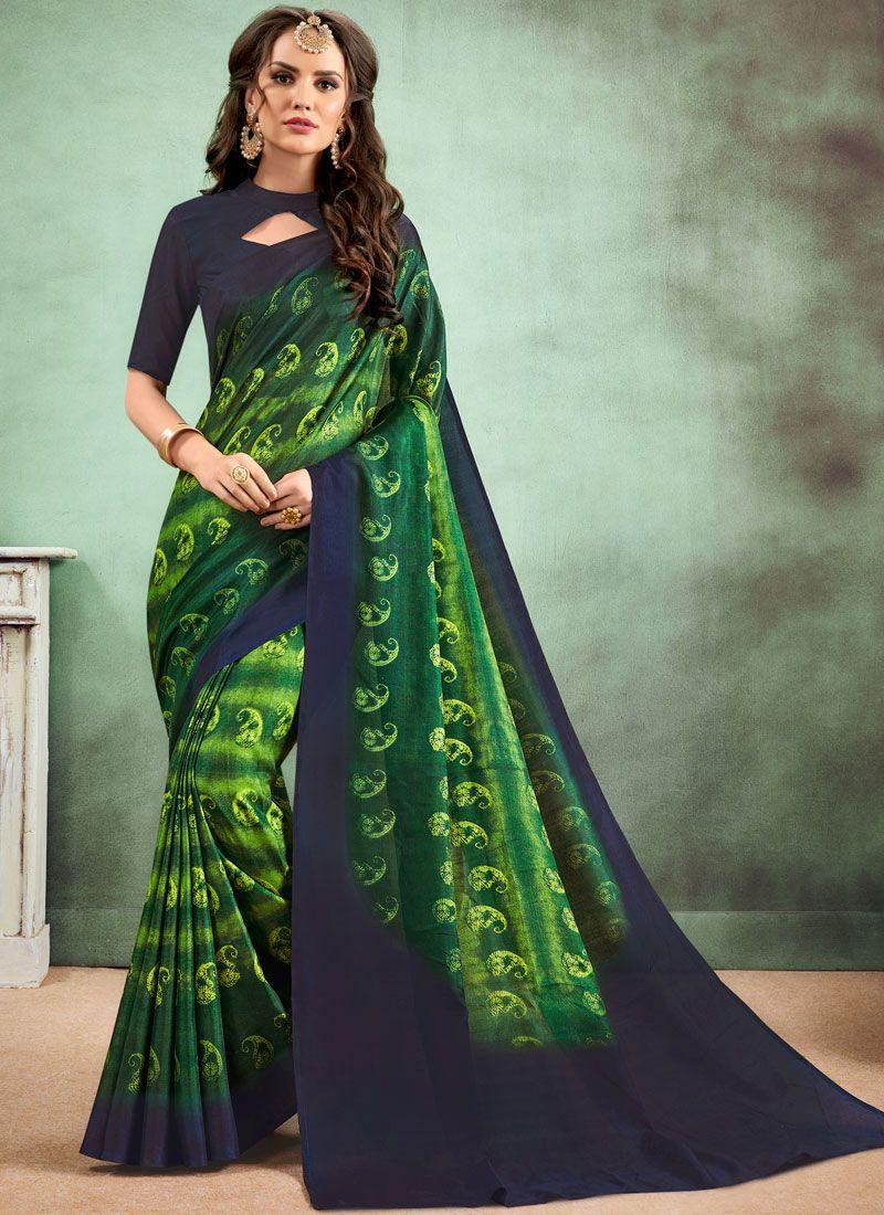 Green Faux Chiffon Digital Print Casual Saree