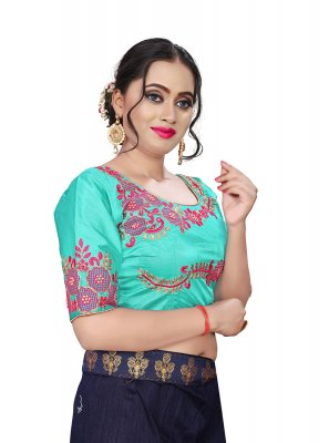 Green Faux Chiffon Embroidered Designer Blouse