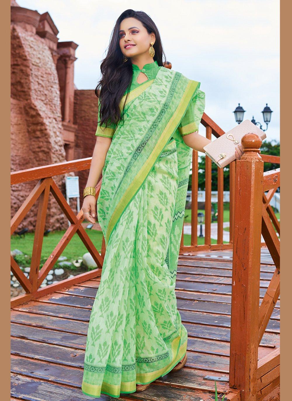Green Faux Chiffon Print Printed Saree
