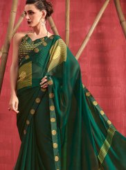 Green Faux Chiffon Printed Casual Saree