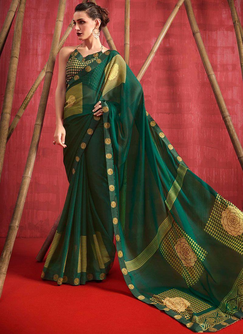 Green Faux Chiffon Printed Casual Saree