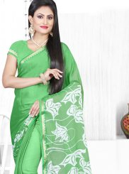 Green Faux Chiffon Printed Saree