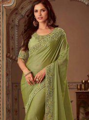 Green Faux Chiffon Wedding Classic Designer Saree