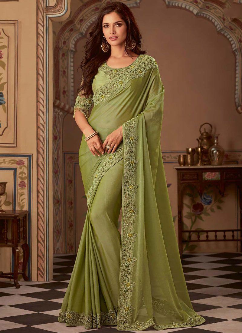 Green Faux Chiffon Wedding Classic Designer Saree