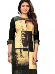 Green Faux Crepe Printed Casual Kurti