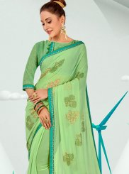 Green Faux Georgette Abstract Print Printed Saree