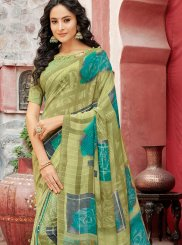 Green Faux Georgette Casual Saree