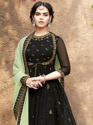 Green Faux Georgette Ceremonial Floor Length Anarkali Suit