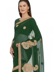 Green Faux Georgette Classic Designer Saree