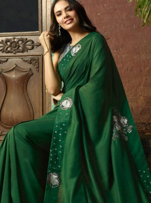 Green Faux Georgette Classic Saree