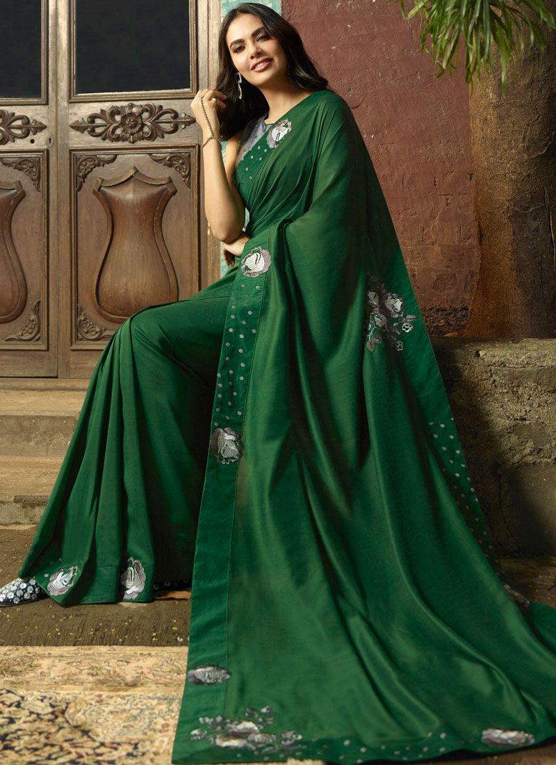 Green Faux Georgette Classic Saree