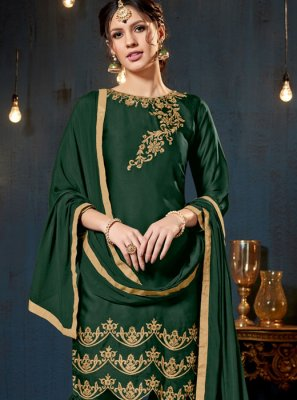 Green Faux Georgette Designer Pakistani Suit