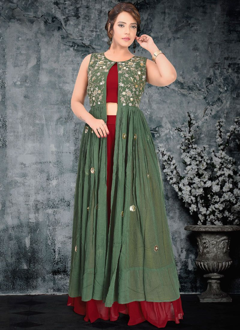 Green Faux Georgette Embroidered A Line Lehenga Choli