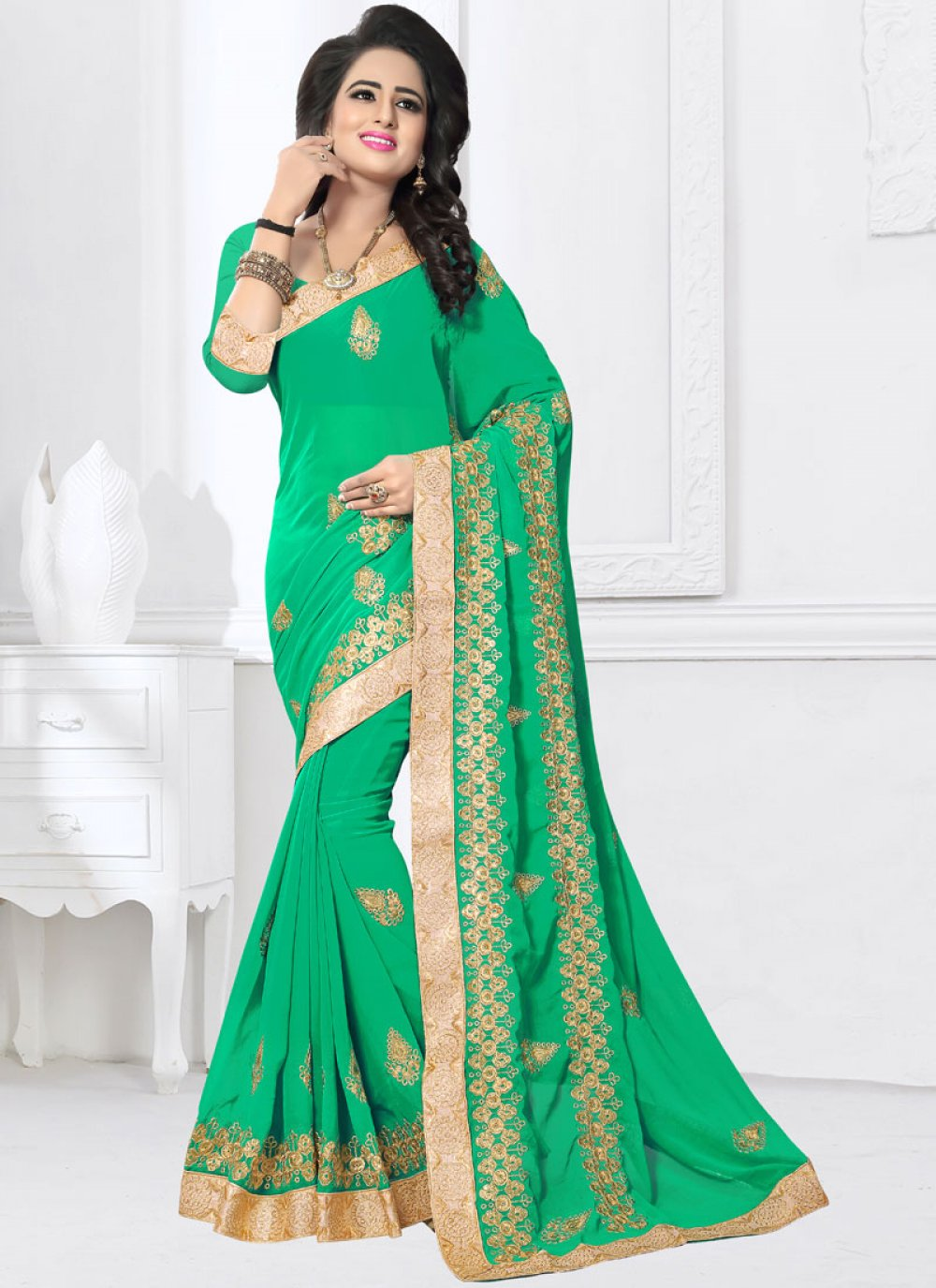 Green Faux Georgette Embroidered Classic Saree