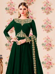 Green Faux Georgette Embroidered Floor Length Anarkali Suit