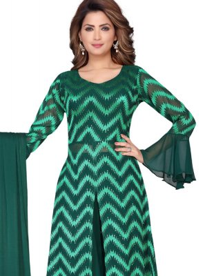 Green Faux Georgette Fancy Readymade Suit