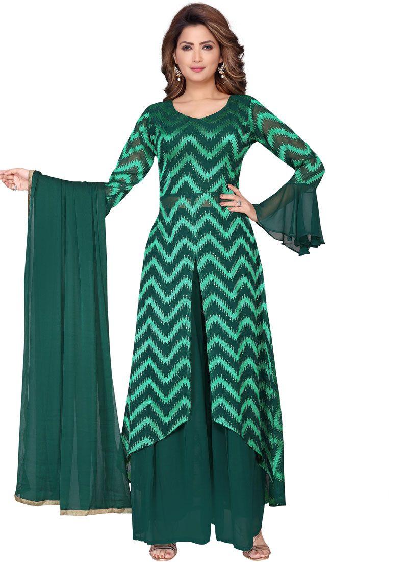 Green Faux Georgette Fancy Readymade Suit