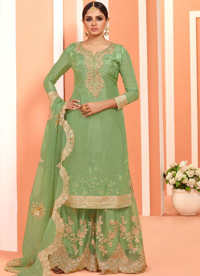 Green Faux Georgette Festival Designer Pakistani Suit