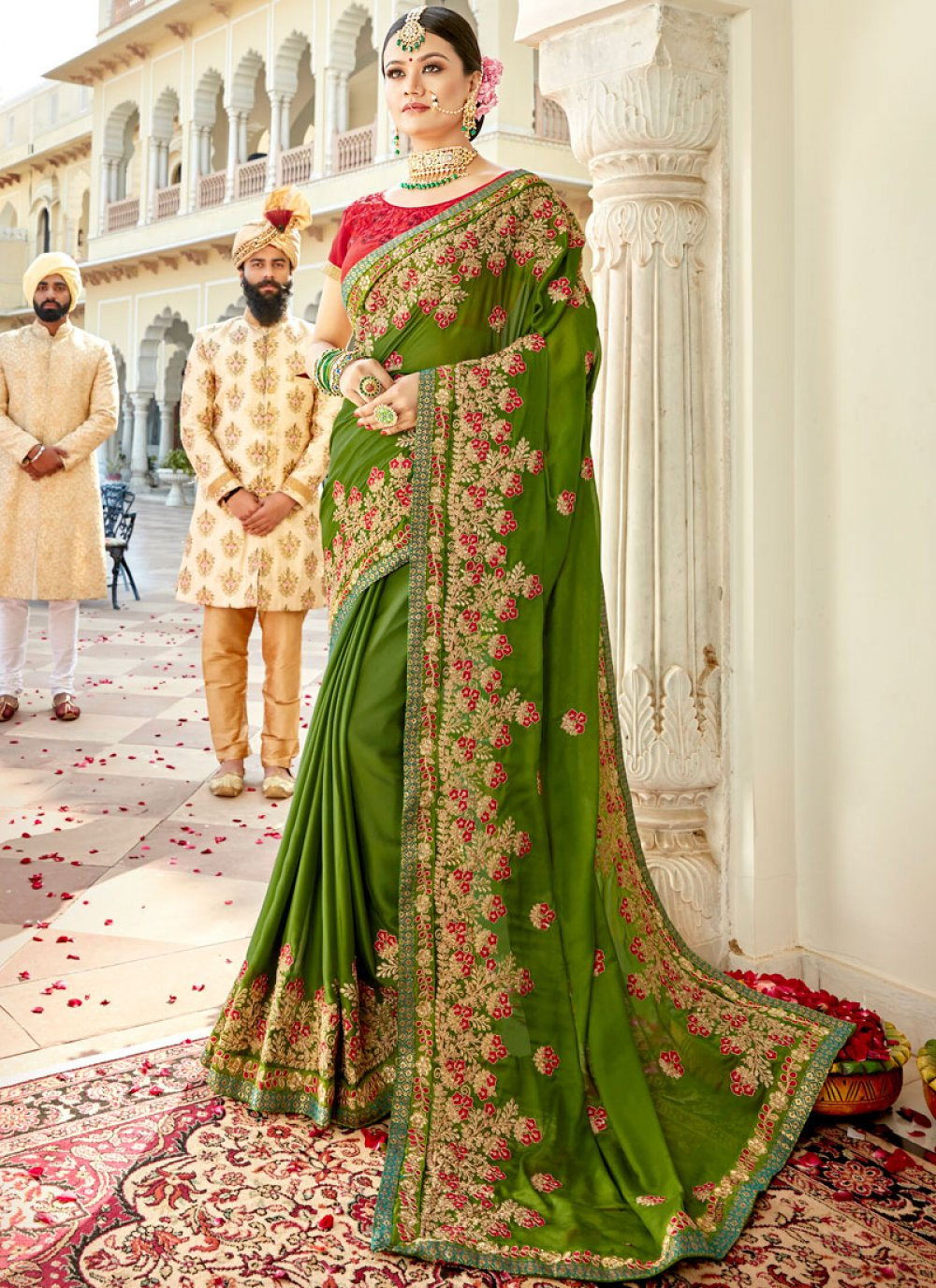 Green Faux Georgette Party Classic Designer Saree