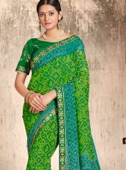 Green Faux Georgette Printed Casual Saree