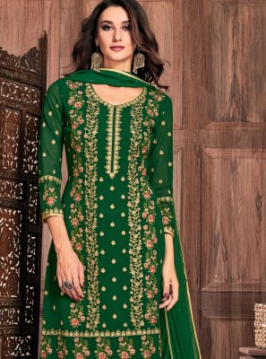 Green Faux Georgette Resham Pant Style Suit