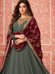 Green Faux Georgette Wedding Anarkali Salwar Kameez