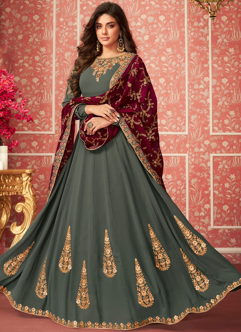 Green Faux Georgette Wedding Anarkali Salwar Kameez