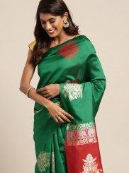 Green Festival Art Silk Casual Saree