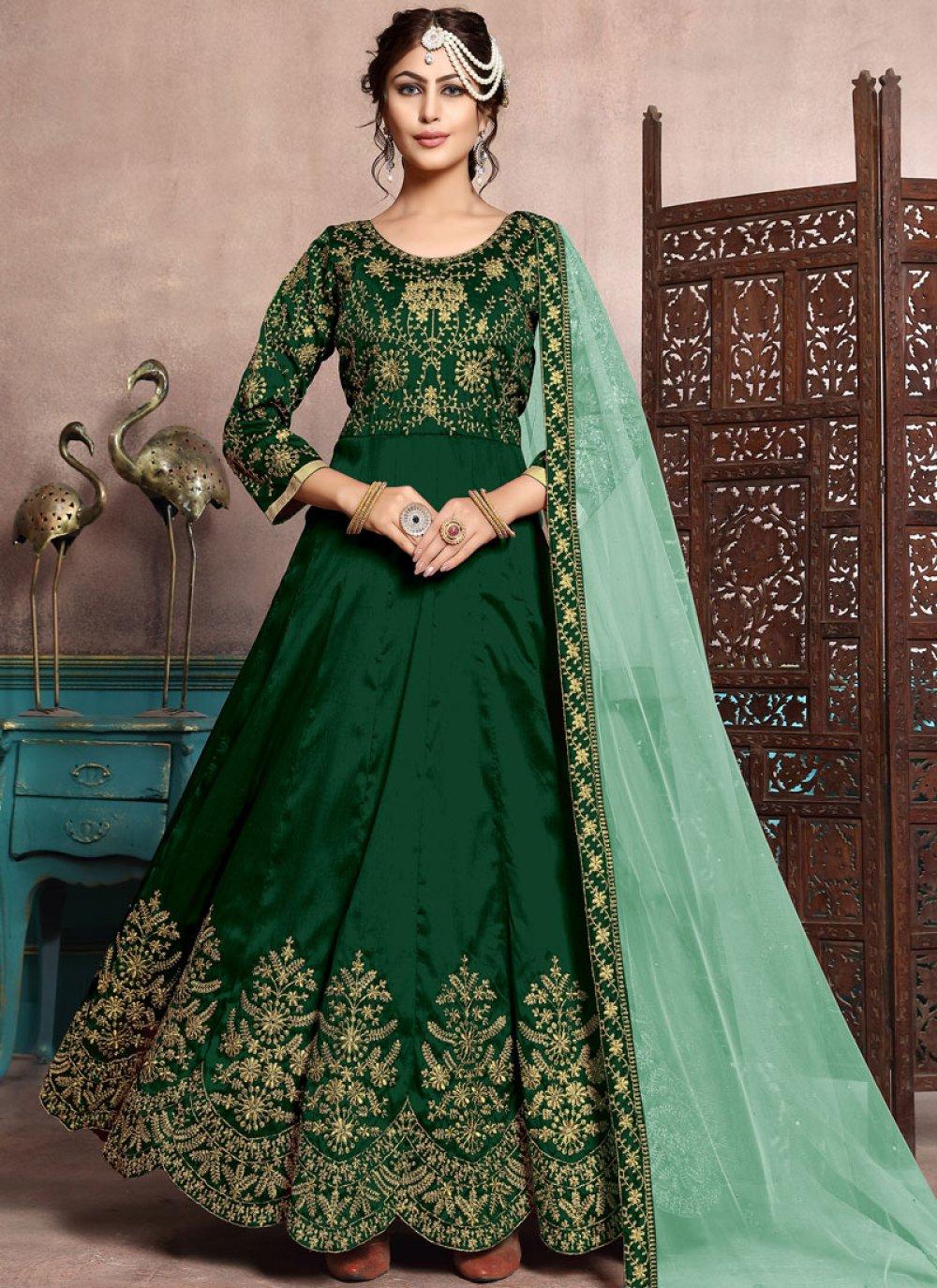 Green Festival Art Silk Floor Length Anarkali Suit
