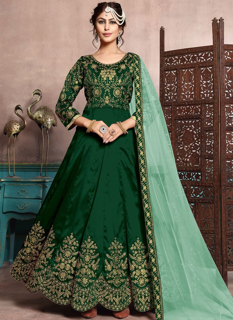 Green Festival Art Silk Floor Length Anarkali Suit
