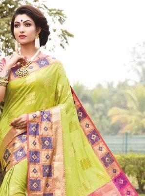 Green Festival Art Silk Traditional Designer Saree