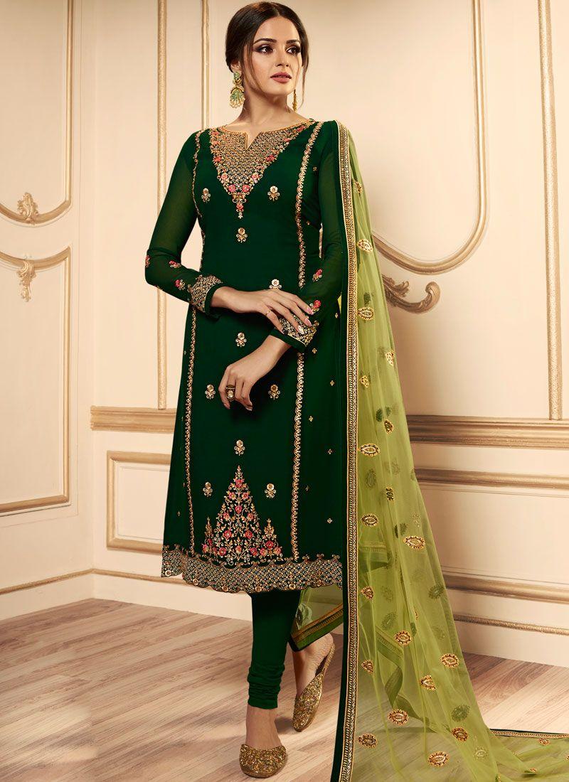 Green Festival Churidar Designer Suit