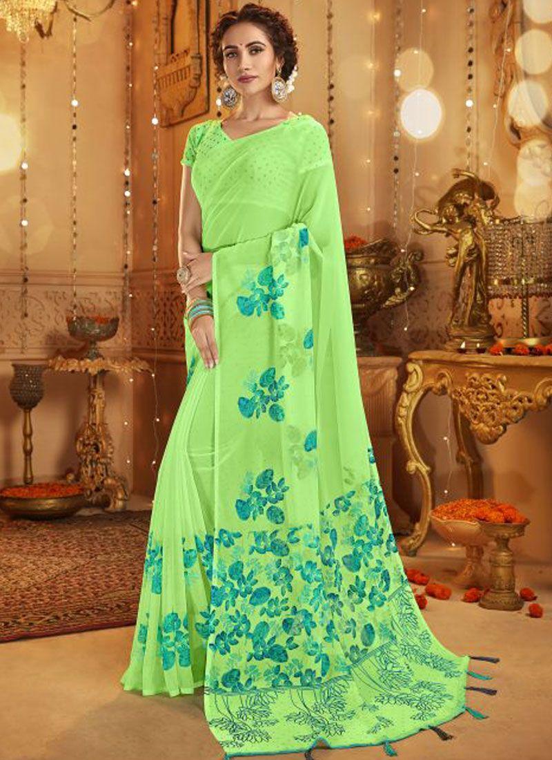 Green Festival Cotton Casual Saree