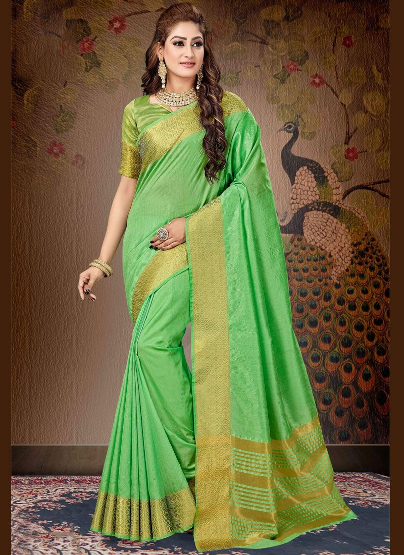 Green Festival Cotton Trendy Saree