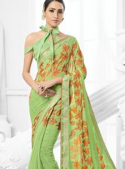 Green Festival Faux Chiffon Trendy Saree