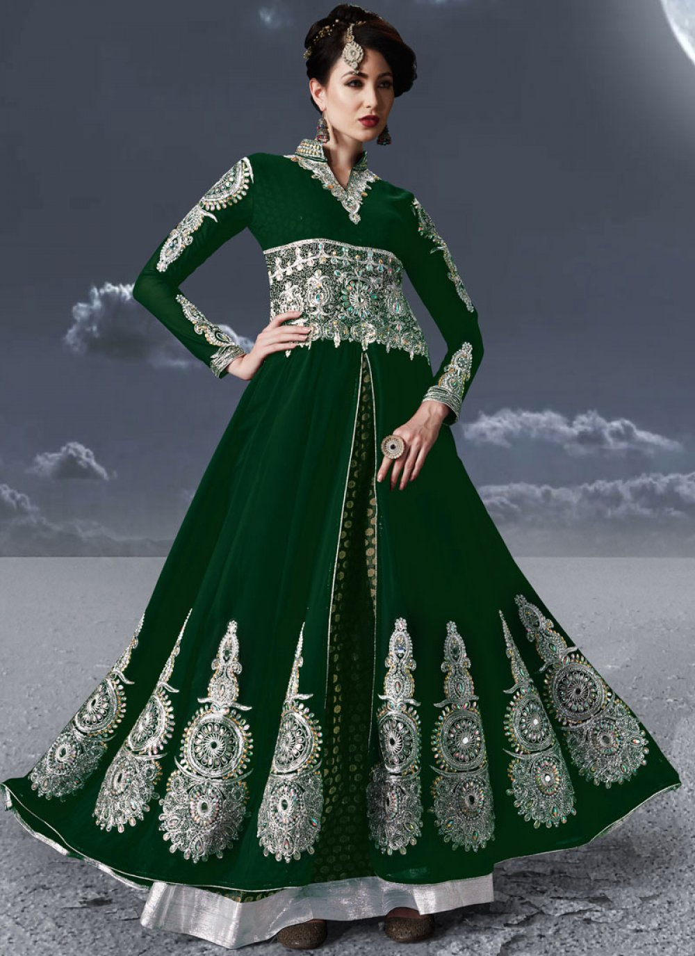 Green Festival Faux Georgette Floor Length Anarkali Suit