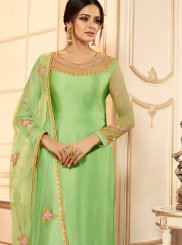Green Festival Georgette Satin Churidar Designer Suit