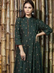 Green Festival Maslin Cotton Trendy Gown