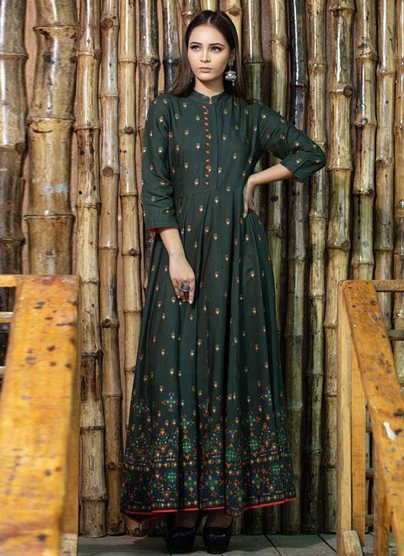 Green Festival Maslin Cotton Trendy Gown