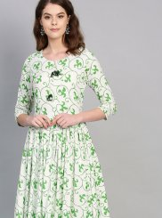 Green Festival Rayon Party Wear Kurti
