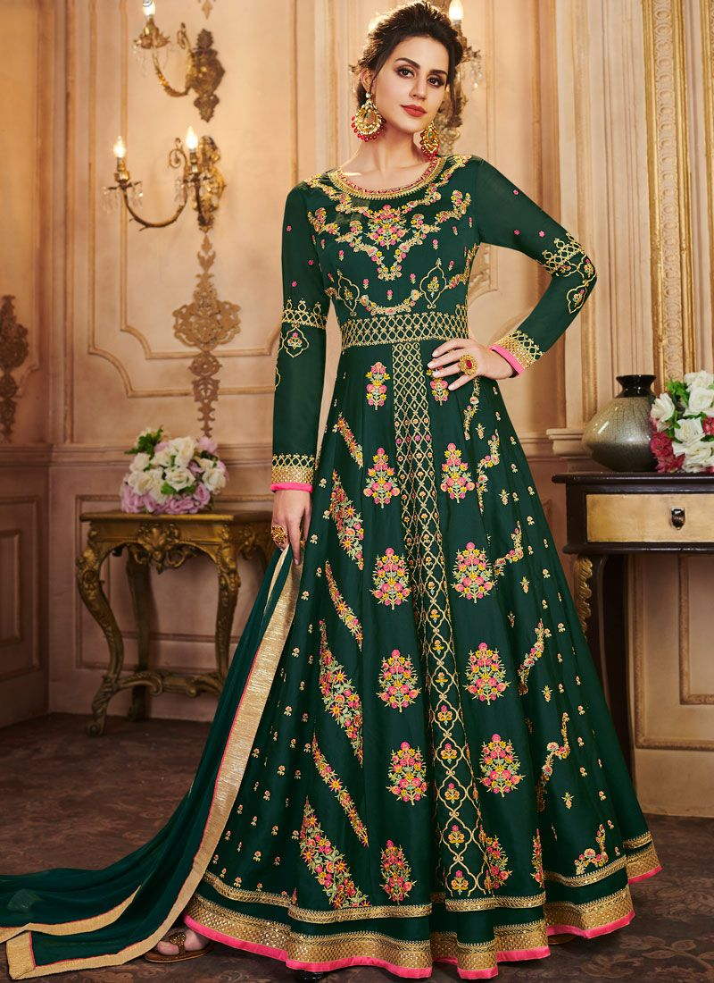 Green Festival Silk A Line Lehenga Choli