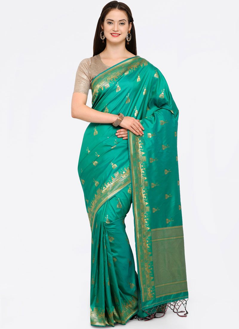 Green Festival Traditional Saree