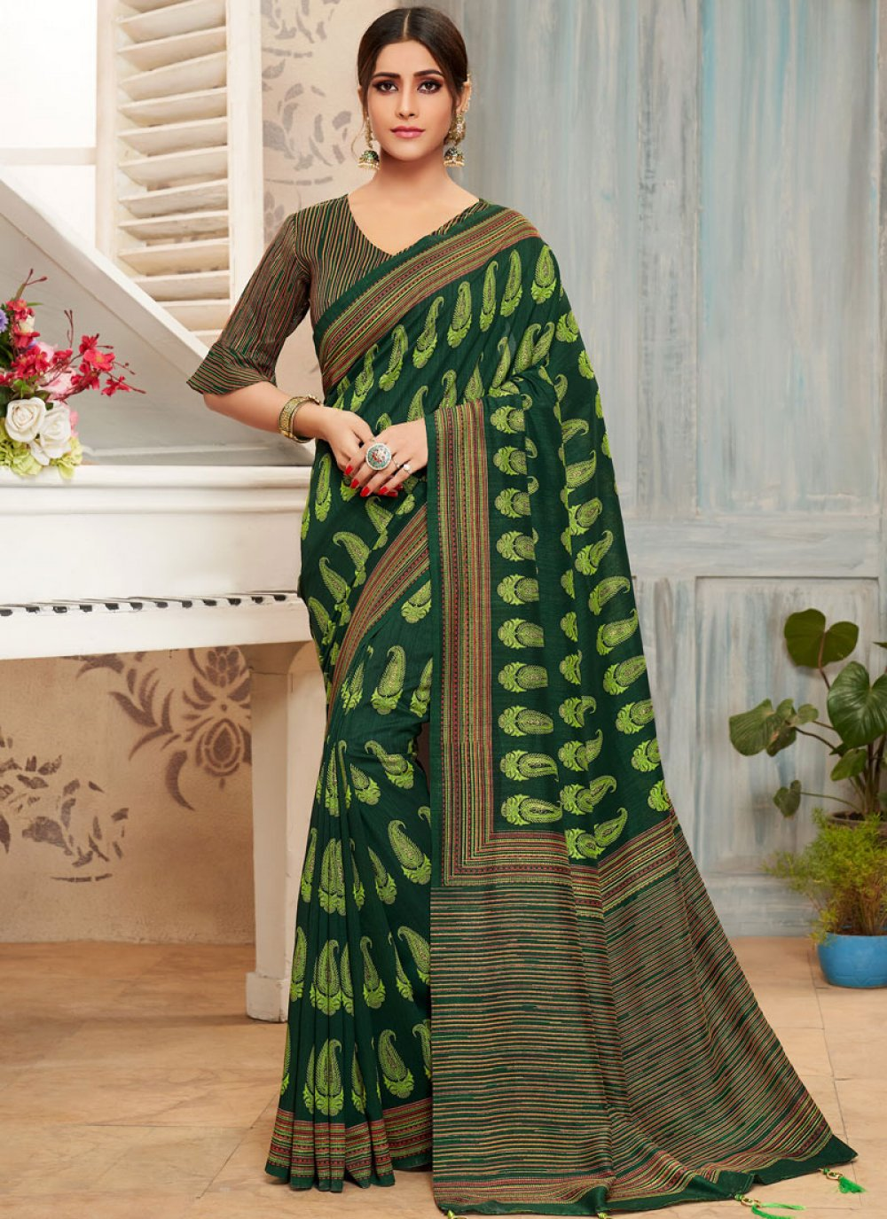 Green Foil print Casual Saree