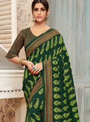 Green Foil print Casual Saree