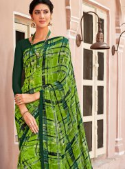 Green Georgette Casual Saree