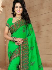 Green Georgette Resham Classic Designer Saree