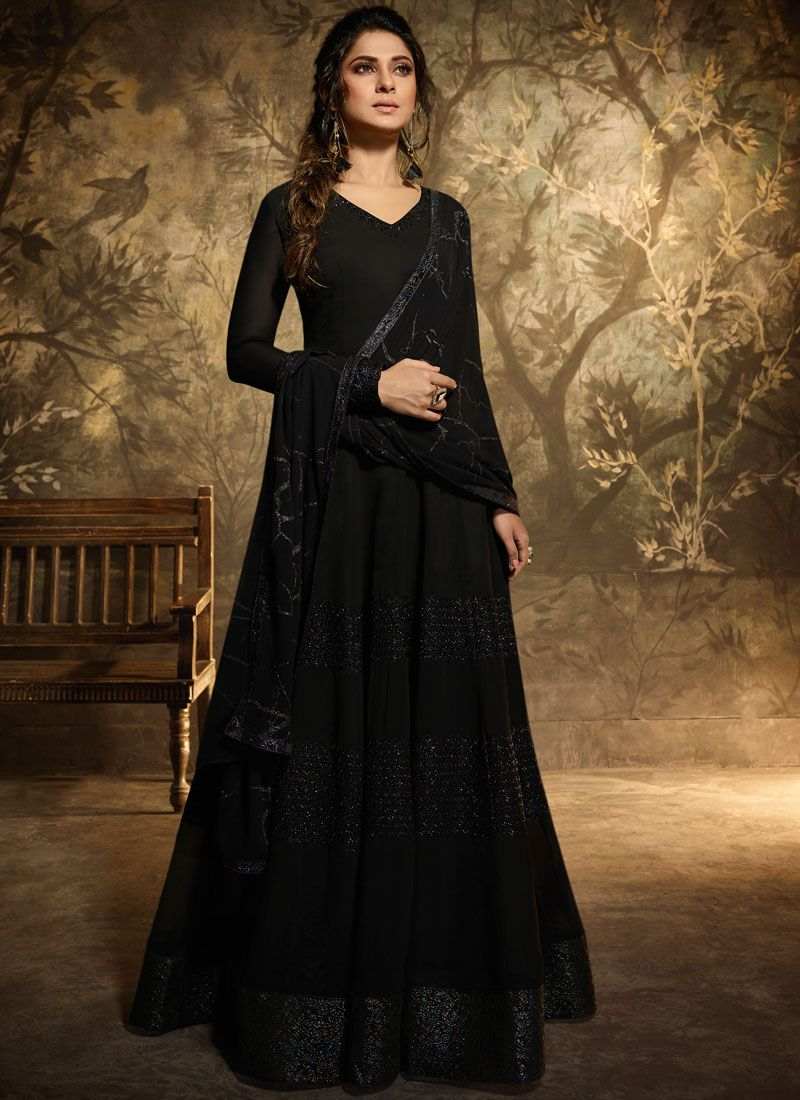 Black Georgette Sangeet Anarkali Salwar Suit